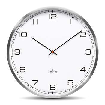 Huygens - One Silent Wall Clock - White Arabic (Diameter 45cm)