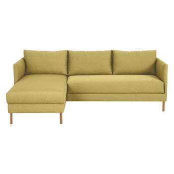 Hyde Yellow Fabric Left-Arm Chaise Sofa, Wooden Legs (72 x 205cm)
