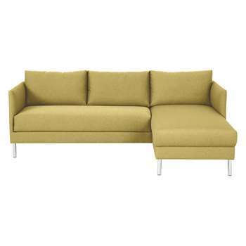 Hyde Yellow Fabric Right-Arm Chaise Sofa, Metal Legs (72 x 205cm)