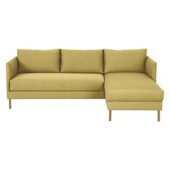 Hyde Yellow Fabric Right-Arm Chaise Sofa, Wooden Legs (72 x 205cm)