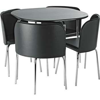 Hygena Amparo Dining Table & 4 Chairs - Black