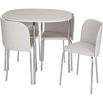 Hygena Amparo Dining Table & 4 Chairs - White
