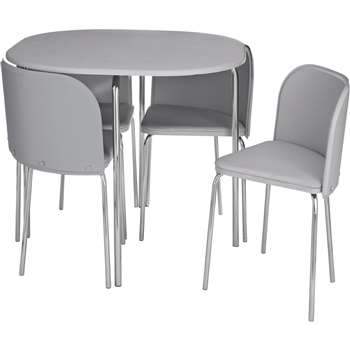 Hygena Amparo Space Saving Dining Table & 4 Chairs - Grey