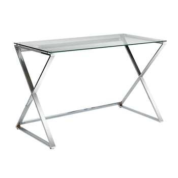 Hygena Cortez Glass - Desk (74 x 120cm)
