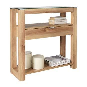 Hygena Cubic Console Table - Oak Finish 80 x 81cm