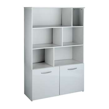 Hygena Hayward 2 Door Shelving Unit - White Gloss 152 x 100cm