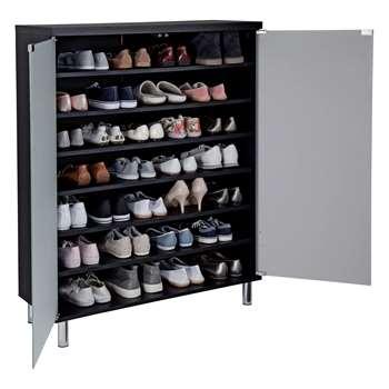 Hygena Milan Frosted Glass Door Shoe Storage Cabinet - Black 114.5 x 91.5cm