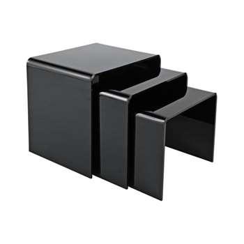 Hygena Mistral Nest of 3 Tables - Black (Width 40cm)