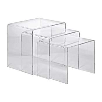 Hygena Mistral Nest of 3 Tables - Clear Acrylic (Width 40cm)
