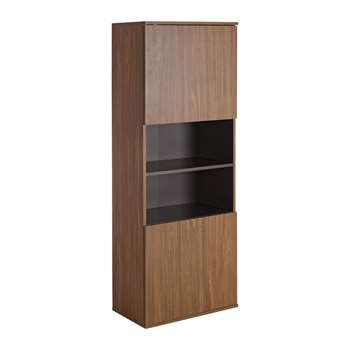 Hygena Modular 2 Door Tall Wall Cabinet - Walnut/Graphite 150.3 x 54.5cm