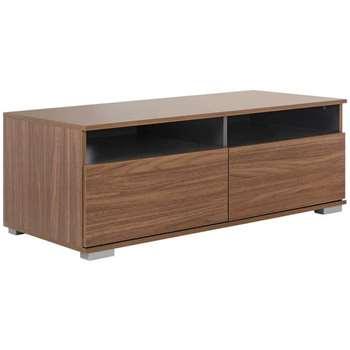 Hygena Modular Base 2 Drawer TV Unit - Walnut/Graphite