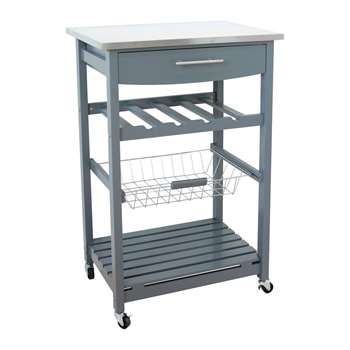 Hygena Odina Stainless Steel Top Kitchen Trolley