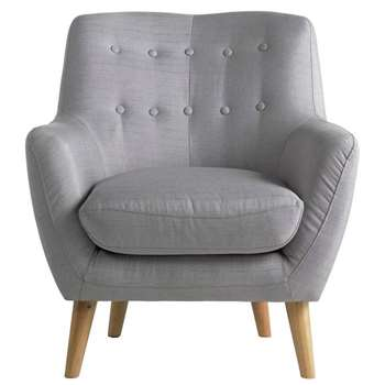 Hygena Otis Fabric Chair and Footstool - Light Grey