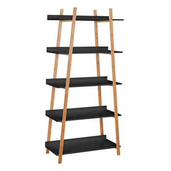 Hygena Skanda 5 Tier Bamboo Shelving Unit - Black (167.5 x 80cm)