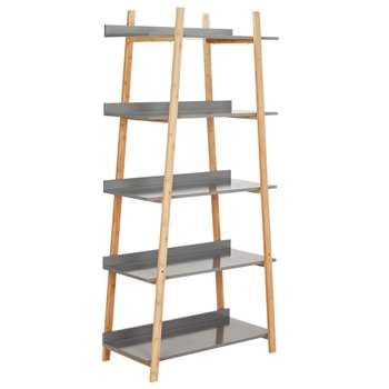 Hygena Skanda 5 Tier Bamboo Shelving Unit - Grey 167.5 x 80cm