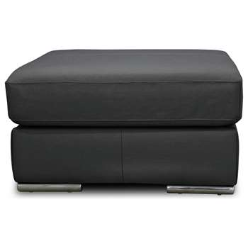 Hygena Valencia Leather Footstool - Black