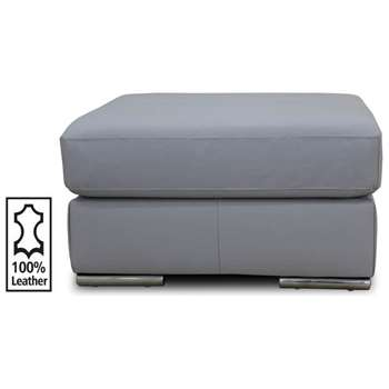 Hygena Valenica Leather Footstool - Grey