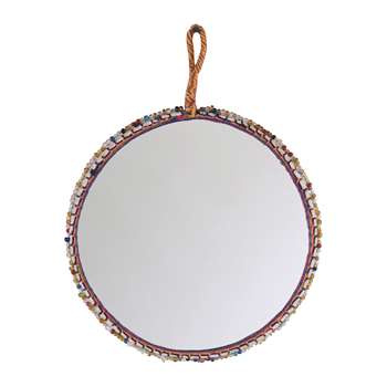 Ian Snow - Beaded Cotton Trim Round Mirror (Diameter 16cm)
