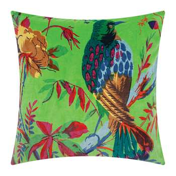 Ian Snow - Bird of Paradise Velvet Cushion Cover - Green (H45 x W45cm)