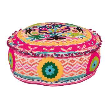 Ian Snow - Candy Colours Embroidered Pouffe (H26 x W62 x D62cm)