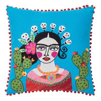 Ian Snow - Frida Khalo and Cactus Cushion - Blue (H45 x W45cm)