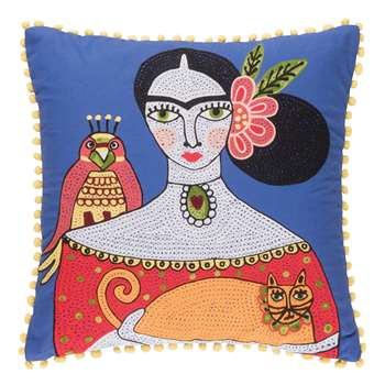 Ian Snow - Frida Orange Cat Embroidered Cushion Cover (H45 x W45cm)