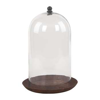 Ian Snow - Glass Dome with Rust Finish Plate (H29 x W20 x D20cm)