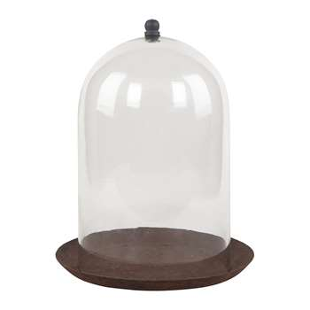 Ian Snow - Glass Dome with Rust Finish Plate (H33 x W24 x D24cm)