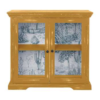 Ian Snow - Glazed Wall Cabinet - Sandy Yellow (H55.5 x W60 x D18.5cm)