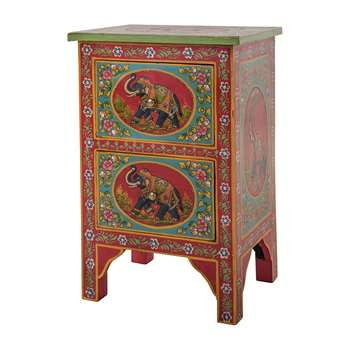 Ian Snow - Hand Painted Elephant Two Drawer Cabinet (H61 x W40 x D30cm)