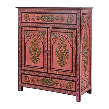 Ian Snow - Hand Painted Lotus Flower Cabinet (H91 x W76 x D32.5cm)