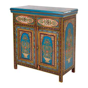 Ian Snow - Hand Painted Mughal Side Board (H93 x W86 x D42cm)