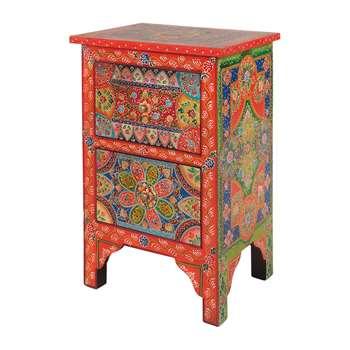 Ian Snow - Hand Painted Zeplin Bedside Cabinet (H60 x W40 x D30cm)