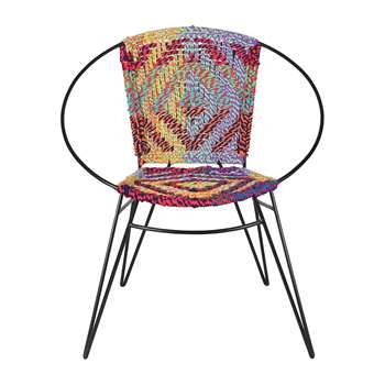 Ian Snow - Hand Woven Iron and Chindi Chair (H77 x W70 x D63cm)
