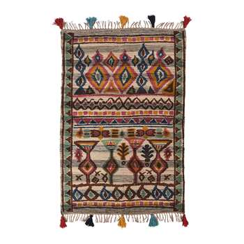 Ian Snow - Hand Woven Printed Aztian Rug with Knotted Fringes (H180 x W120cm)