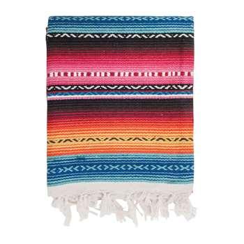 Ian Snow - Handwoven Mexicano Throw -  Multi Pink (H150 x W124cm)
