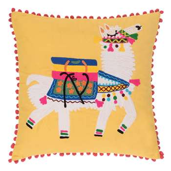 Ian Snow - Llama Embroidered Pom Pom Cushion Cover - Yellow (H45 x W45cm)