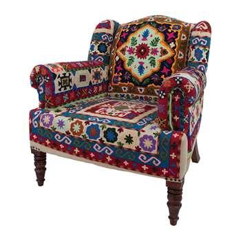Ian Snow - Maharaja Crewel Embroidered Armchair (H94 x W84 x D86cm)