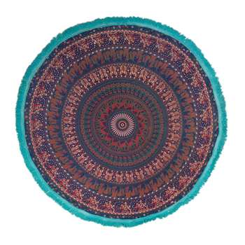 Ian Snow - Mandala Round Throw with Tassel Trim - Blue/Turquoise (Diameter 168cm)