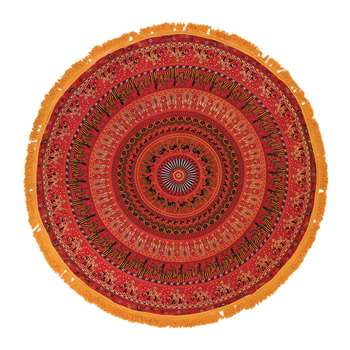 Ian Snow - Mandala Round Throw with Tassel Trim - Red/Yellow (Diameter 168cm)