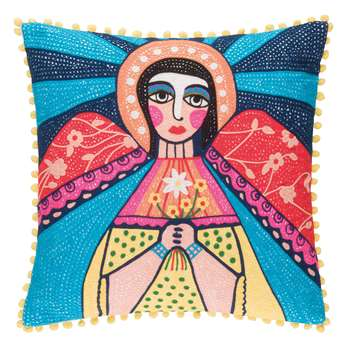 Ian Snow - Mother Mary Embroidered Cushion Cover (H45 x W45cm)