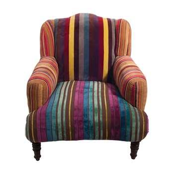 Ian Snow - Multi Stripe Velvet Armchair (H86 x W76 x D73cm)
