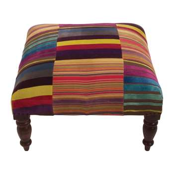 Ian Snow - Multi Stripe Velvet Footstool (H38 x W60 x D60cm)