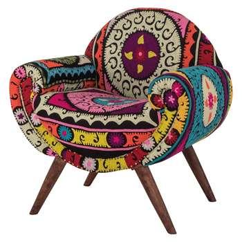 Ian Snow - Neon Aztec Embroidered Armchair (H96 x W91 x D71cm)