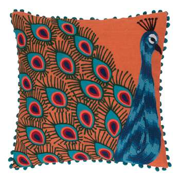 Ian Snow - Peacock Embroidered Pom Pom Cushion Cover - Orange (H45 x W45cm)