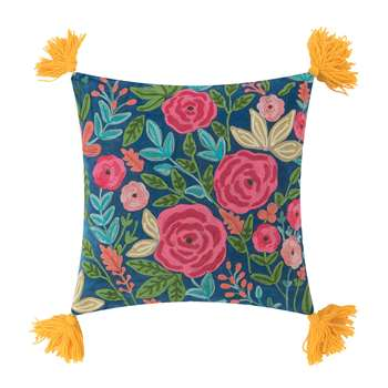 Ian Snow - Roses Embroidered Cushion with Tassels - Mustard (H45 x W45cm)