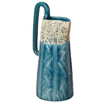 Ibos Decorative Jug, Medium - Blue/Off-White (35 x 17cm)