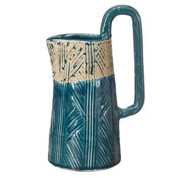 Ibos Decorative Jug, Small - Blue/Off-White (24 x 15cm)