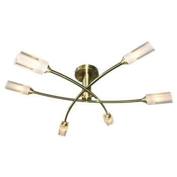 Icarus 6 Light Semi Flush Ceiling Light Antique Brass (H17 x W56 x D56cm)