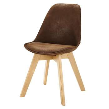 Ice Brown Microsuede Scandinavian-Style Chair (84 x 48cm)